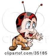 Clipart Illustration Of A Little Ladybug Character Bending Down To Lift Something by dero