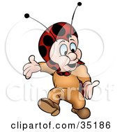 Clipart Illustration Of A Little Ladybug Character Walking And Gesturing With His Arms by dero