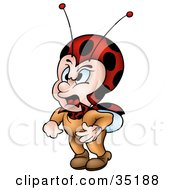 Clipart Illustration Of An Angry Little Ladybug Character Shouting by dero