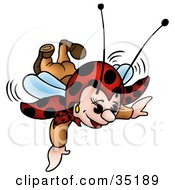 Little Ladybug Character Swooping Down While Flying