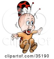 Scared Little Ladybug Character With His Hat Flying Off