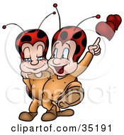 Clipart Illustration Of A Romantic Little Ladybug Couple With Hearts Walking With Their Arms Around Each Other