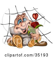 Clipart Illustration Of A Romantic Spider With A Heart In A Web Holding A Bouquet Of Red Flowers