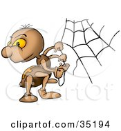 Clipart Illustration Of A Brown Spider With Orange Eyes Looking Back While Creating A Web