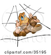 Clipart Illustration Of A Spider With Blue Eyes Hanging In A Web by dero