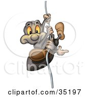 Clipart Illustration Of A Sneaky Spider Sliding Down A String And Pointing Right by dero