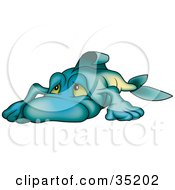 Clipart Illustration Of A Depressed Blue Fish Sulking