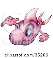 Clipart Illustration Of A Purple Fish Holding One Arm Up And Swimming