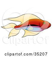 Clipart Illustration Of A Pretty Red Fish With Green Eyes And A Gradient Blue And Purple Belly