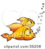 Clipart Illustration Of Two Bored Goldfish Swimming With Bubbles