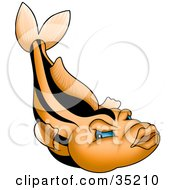 Clipart Illustration Of An Orange Fish With Black Stripes Blue Eyes And Big Lips by dero