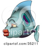 Clipart Illustration Of A Blue Green And Purple Fish With Big Red Lips by dero