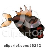Clipart Illustration Of A Sad Orange And Brown Fish With Purple Eyes And Big Lips by dero