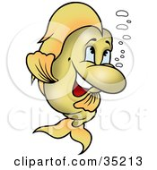Clipart Illustration Of An Energetic Green Fish With Bubbles Dancing by dero