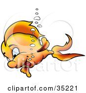 Clipart Illustration Of A Happy Young Goldfish Swimming by dero