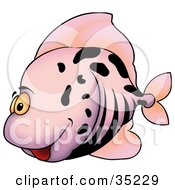 Clipart Illustration Of A Goofy Purple Fish With Black Stripes And Spots by dero