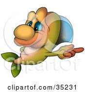 Clipart Illustration Of A Cute Green And Orange Fish With Blue Eyes Pointing Right by dero