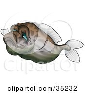 Clipart Illustration Of A Gradient Green And Brown Fish With Faint Markings And Blue Eyes by dero