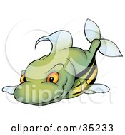 Clipart Illustration Of A Mean Green Fish With A Yellow Belly Orange Eyes And Black Stripes by dero