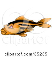 Clipart Illustration Of An Orange Fish With Black Stripes Pink Eyes And Big Lips by dero