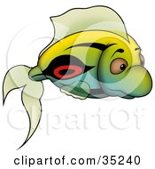 Clipart Illustration Of A Gradient Green Blue And Yellow Fish With Black And Red Markings by dero