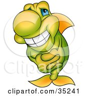 Clipart Illustration Of A Gradient Yellow And Green Fish With Blue Eyes Grinning And Clasping His Hands by dero