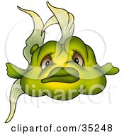 Clipart Illustration Of A Chubby Green Fish With Brown Eyes Facing The Viewer by dero