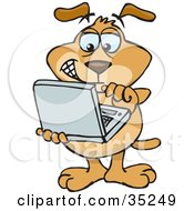 Clipart Illustration Of A Brown Techno Dog Holding A Laptop And Working Online