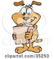 Happy Brown Dog Carrying An Order In A Cardboard Box