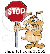 Clipart Illustration Of A Brown Dog Halting With His Hand And A Stop Sign
