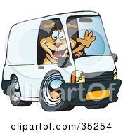 Clipart Illustration Of A Friendly Brown Dog Waving And Driving A White Delivery Van With Space On The Side For You To Insert Text