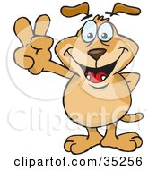 Clipart Illustration Of A Peaceful Brown Dog Smiling And Gesturing The Peace Sign With His Hands