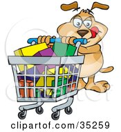 Thinking Brown Dog Licking His Lips While Pushing A Full Shopping Cart Through A Store