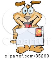 Grinning Brown Dog Holding A Stamped Letter Envelope With Blank Space For You To Insert Your Text
