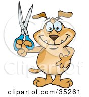 Clipart Illustration Of A Smiling Brown Dog Holding Up A Pair Of Scissors Doing Arts And Crafts Slashing Prices Or Cutting Coupons by Dennis Holmes Designs