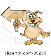 Clipart Illustration Of A Grinning Brown Dog Holding A Blank Wooden Arrow Sign Pointed To The Left With Space For You To Insert Your Text On The Arrow