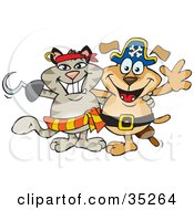 Pirate Cat With A Hook Hand Standing And Smiling With A Pirate Dog With A Peg Leg