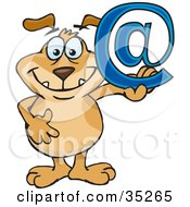 Happy Brown Dog Holding Up A Blue Arobase Email Sign