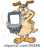 Clipart Illustration Of A Smiling Brown Dog Holding Out A Calculator Or Cell Phone With A Blank Screen For You To Enter Text