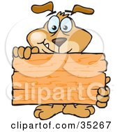 Clipart Illustration Of A Friendly Brown Dog Standing Behind And Holding Up A Blank Wooden Sign Ready For You To Insert Your Own Text by Dennis Holmes Designs