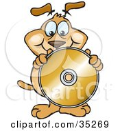 Clipart Illustration Of A Friendly Brown Dog Holding Up And Standing Behind A Blank Golden Cd Or Dvd Without A Label Ready For You To Insert Text