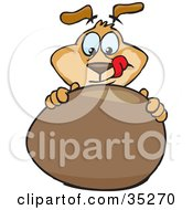 Clipart Illustration Of A Brown Dog Licking His Chops While Touching And Tempting To Eat A Large Chocolate Easter Egg