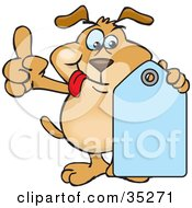 Clipart Illustration Of A Brown Dog Hanging His Tongue Out Pointing Upwards And Holding A Blank Blue Price Tag Ready For You To Insert Your Text