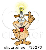Knowledgeable Brown Dog Holding His Finger Up With A Bright Idea A Light Bulb Over His Head