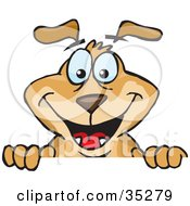 Clipart Illustration Of A Hyper Brown Dog Peeping Up From Over A Surface