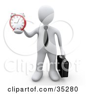 White Businessman Wearing A Tie Carrying A Briefcase And Holding Out An Alarm Clock In His Hand