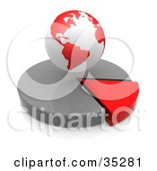 Clipart Illustration Of A Red And White Hovering Over A Red And Gray Pie Chart