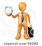 Orange Businessman Wearing A Tie Carrying A Briefcase And Holding Out An Alarm Clock In His Hand