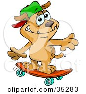Clipart Illustration Of A Sporty Brown Dog Wearing A Hat And Skateboarding