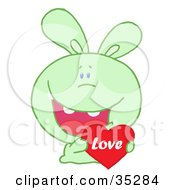 Clipart Illustration Of A Caring Green Rabbit Laughing And Holding A Red Heart Love Valentine by Hit Toon